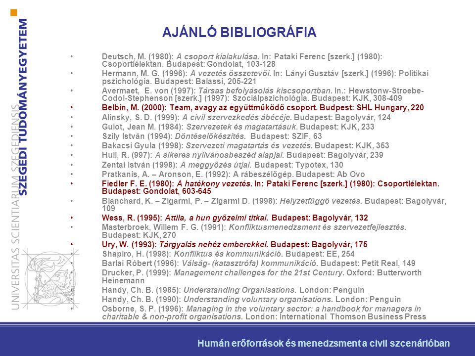 AJÁNLÓ BIBLIOGRÁFIA Deutsch, M. (1980): A csoport kialakulása. In: Pataki Ferenc [szerk.] (1980): Csoportlélektan. Budapest: Gondolat, 103-128.
